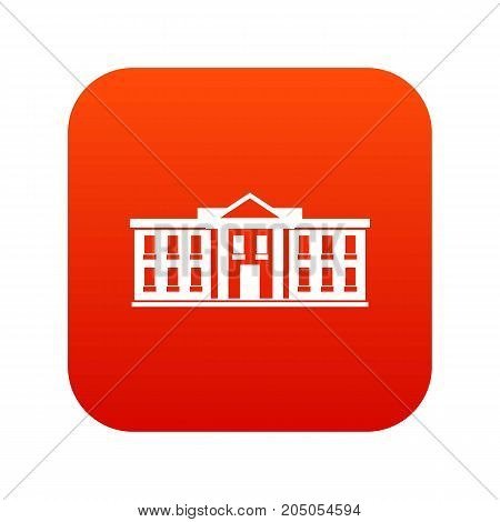 White house USA icon digital red for any design isolated on white vector illustration