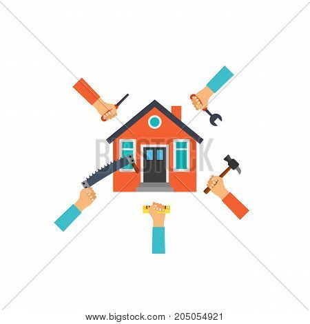Icon of renovation concept. Hand tools, house, building. Performing apartments concept. Can be used for topics like teamwork, reconstruction,  remodeling