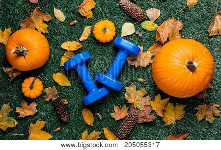 Blue Dumbbells And Autumn Leaves With Pumpkin
