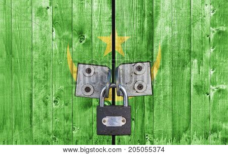 Mauritania flag on door with padlock close