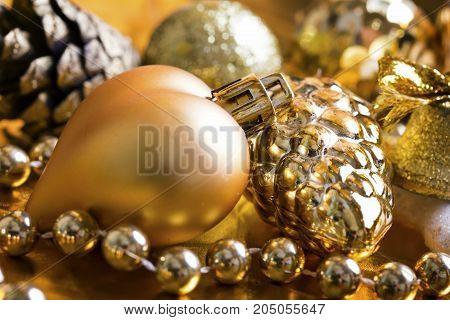 New year decoration on golden  decoration background