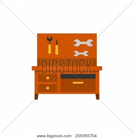 Icon of workbench with tools. Hand tools, spanner, screwdriver. Metal working concept. Can be used for topics like workplace, carpentry, repair