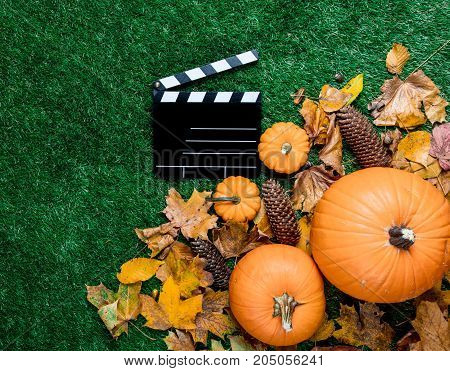 Clapboard And Autum Leaves Around