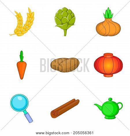 Rye icons set. Cartoon set of 9 rye vector icons for web isolated on white background