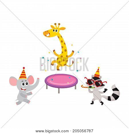 vector flat cartoon cheerful animals character smiling in paty hat set. giraffe jumping on trampoline, raccoon having fun whistling elephant dancing. isolated illustration on a white background