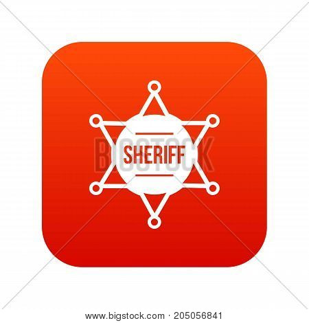 Sheriff badge icon digital red for any design isolated on white vector illustration