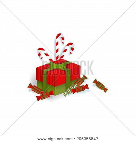 Christmas gift, present box, candies and candy canes, decoration element, flat style vector illustration on white background. Christmas present, gift in red box with green bow and candy canes
