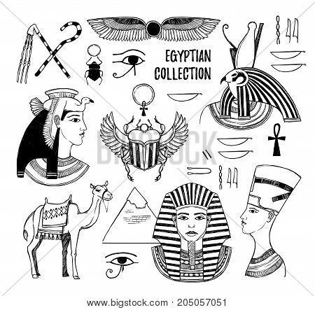 Hand Drawn Vector Illustration - Egyptian Collection. Gods Of Ancient Egypt, Pharaoh, Scarab Beetle,