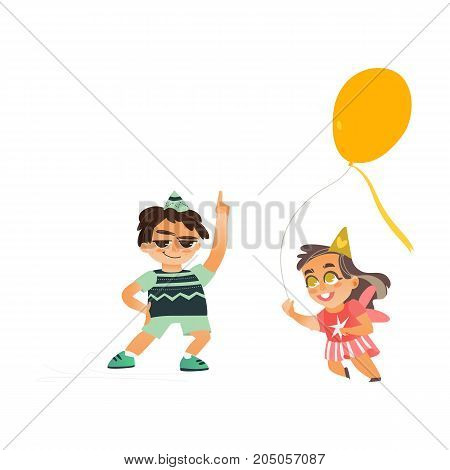 vector flat cartoon boy kid dancing in party hat smiling happily, girl in funny glasses running with yellow air balloon . isolated illustration on a white background. Kids patty concept