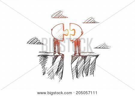 Contact concept. Hand drawn symbol of contact between two men. Cooperation and interaction symbol isolated vector illustration.