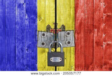 Moldova flag on door with padlock close