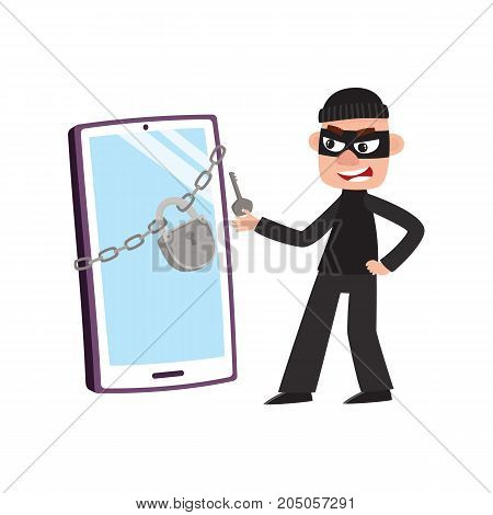 Hacker in mask and huge, giant phone, smartphone with chain and padlock, cartoon vector illustration isolated on white background. Hacker breaking, cracking screen lock, pin code of smartphone, phone