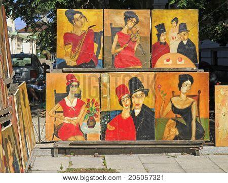 Street Trade Of Paintings At Flea Market In Sofia, Bulgaria