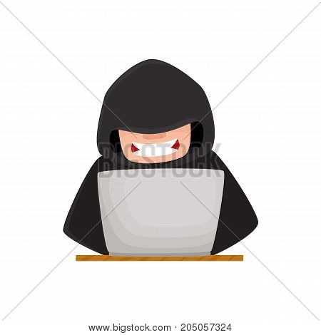 Hacker hiding his face under black hood, using laptop for computer attack, cartoon vector illustration isolated on white background. Computer hacker in disguise working on laptop, laughing