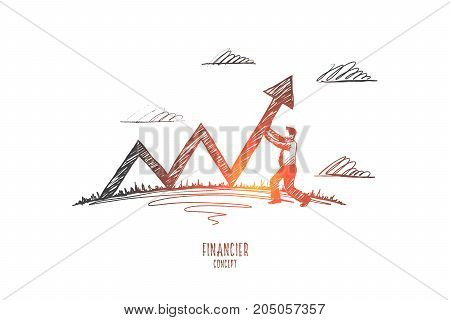 Financier concept. Hand drawn businessman making growth schedule. Male anti-crisis manager isolated vector illustration.