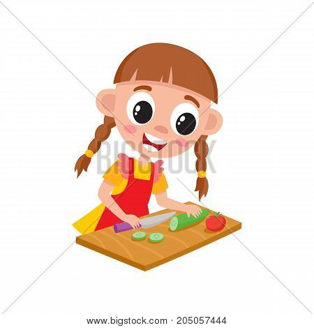 Little girl in apron cooking, cutting, slicing cucumber for salad, cartoon vector illustration isolated on white background. Cartoon girl cutting cucumber, helping mother with cooking