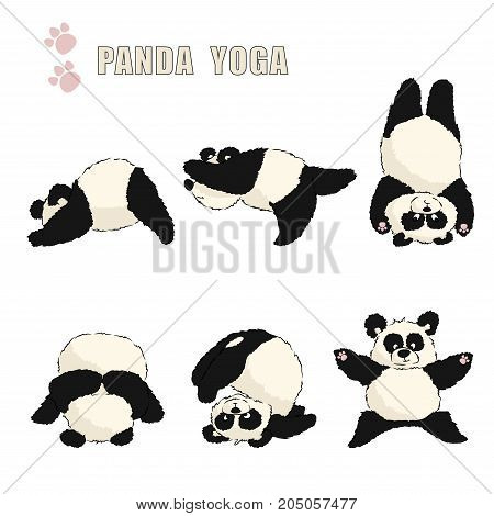 A Set Of Pandas Engaged In Yoga. Color Vector Illustration On A Transparent Background