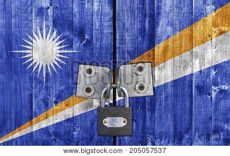 Marshall Islands flag on door with padlock