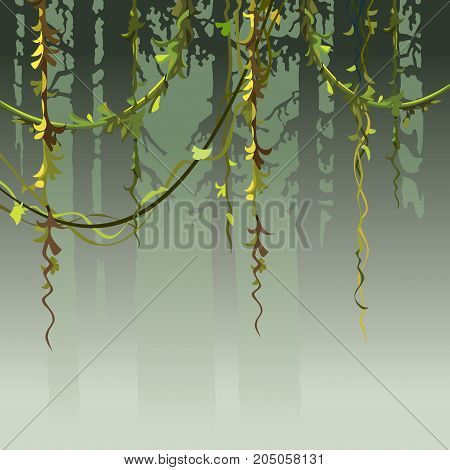 cartoon background silhouette of the forest with vines