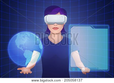 Young pretty woman wearing virtual reality headset or 3d glasses controls imaginary interface with globe and empty template screen projection