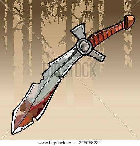 cartoon jagged curve bloody sword in a forest