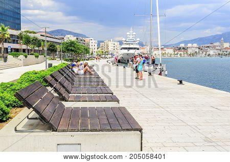 SPLIT, CROATIA - 13 JULY, 2017: Embankment of the spa town of Split, Croatia