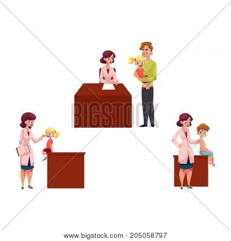 Set of woman pediatrician, doctor doing medical exam, checkup for kids, children, cartoon vector illustration isolated on white background. Kids, children and young woman doctor, pediatrician