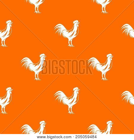 Gallic rooster pattern repeat seamless in orange color for any design. Vector geometric illustration