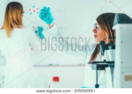 Scientific Research In The Lab, Toned Image, Two Women