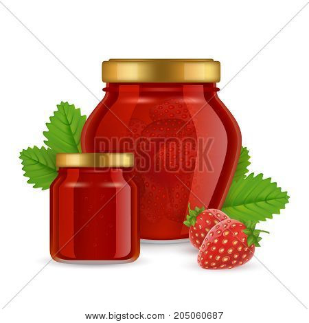 Vector illustration of glass jar with strawberry jam. Realistic delicious homemade strawberry jam, fruit preserves.