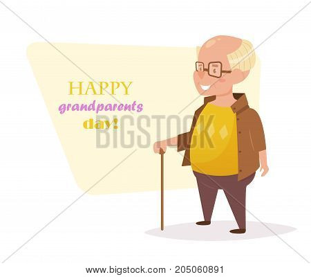 Grandfather with a cane. Vector. Cartoon. Isolated art on white background. Flat. Grandparents day