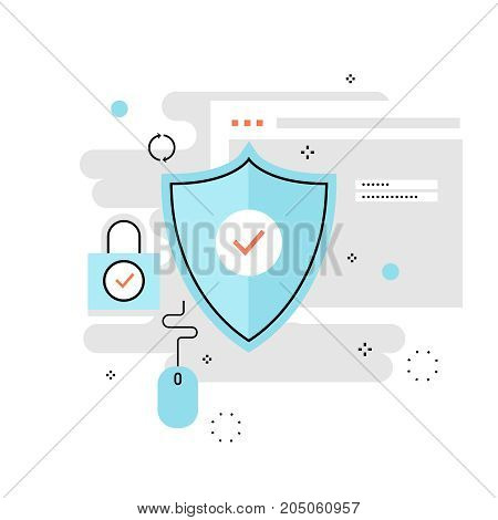 Data protection and internet security, secure internet browsing flat line vector illustration design for mobile and web graphics