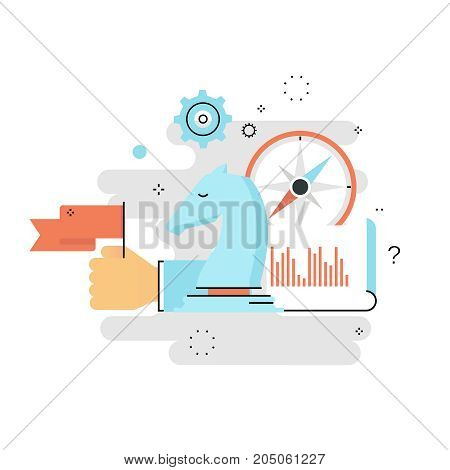 Strategic planning, business strategy flat line vector illustration design. Success in business, leadership, business management design for mobile and web graphics