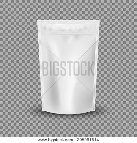 Blank Foil Food Or Drink Bag Packaging with valve and seal. Blank Foil plastic pouch coffee bag. Packaging template mockup collection. isolated on transparent background. Vector illustration. Eps 10.