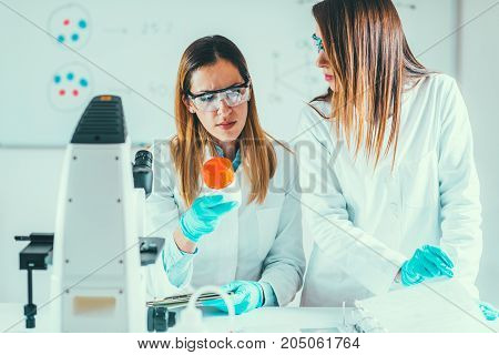 Biotechnology Research In The Lab, Toned Image, Two Women