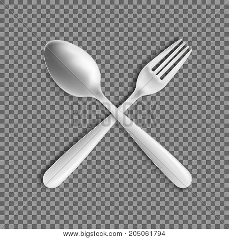 Realistic Fork and spoon isolated on transparent background. Vector illustration. Eps 10.