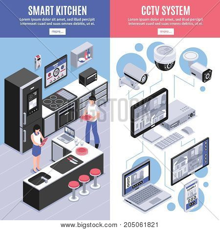 Two colored isometric smart home banner set with smart kitchen and cctv system descriptions vector illustration