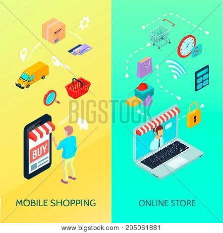 Shopping Ecommerce banner set with mobile shopping and online store descriptions vector illustration