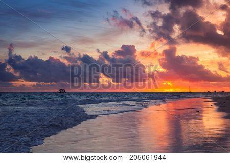Colorful Dramatic Sunrise Over Atlantic Ocean