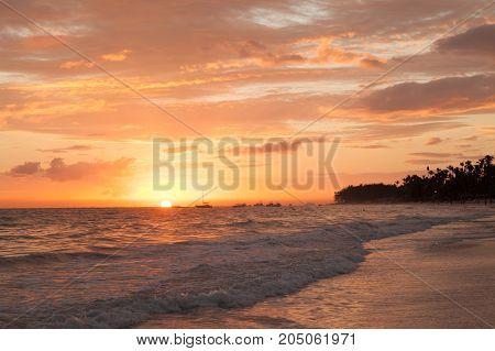 Pink Sunrise Over Atlantic Ocean. Bavaro Beach