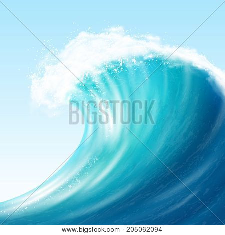 Realistic sea big wave with white foam on crest and splashes on blue background vector illustration