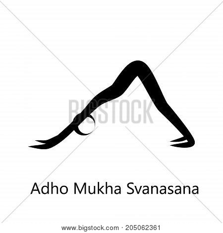 Downward-Facing Dog, Adho Mukha Svanasana. Yoga Position. Vector Silhouette Illustration. Vector graphic design or logo element for spa center, studio, poster. Yoga retreat. Black. Isolated
