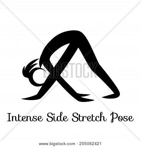 Intense Side Stretch Pose, Parsvottanasana. Yoga Position. Vector Silhouette Illustration. Vector graphic design or logo element for spa center, studio, poster. Yoga retreat. Black. Isolated