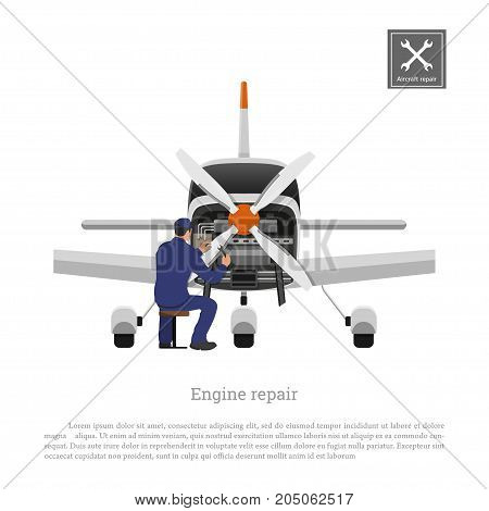 Repair and maintenance of aircraft. Engineer inspects the engine of airplane. Industrial drawing of private plane in flat style. Vector illustration