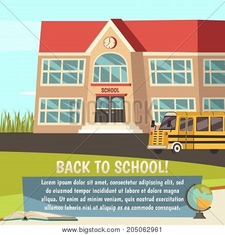 School colored orthogonal concept with back to school description and institution building vector illustration