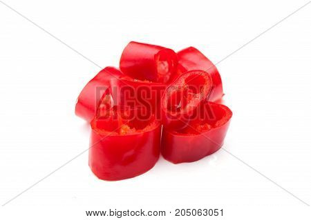chili pepper on white background, red pepper, hot chili pepper