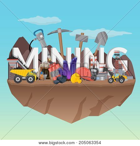 Mining flat composition with typographic lettering, equipment and machineries, workers, plant on blue sky background vector illustration