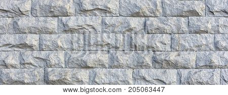 Rough White Stone Wall Horizontal Texture Background