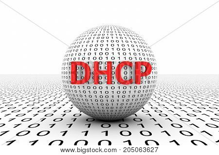 DHCP conceptual sphere binary code 3d illustration