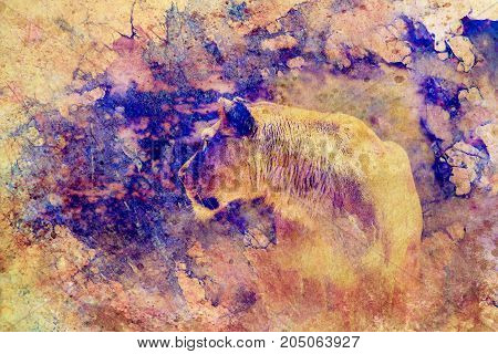 lioness and graphic effect. Computer collage. Marble effect